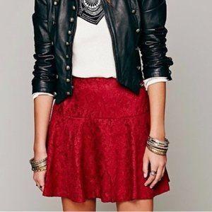 Free people Red Chenille Cheetah Swingi Mini skirt